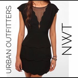 Urban Outfitters | Scalloped Mesh Peplum Dress